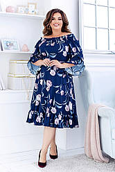 Платье  БАТАЛ принт в расцветках 461079