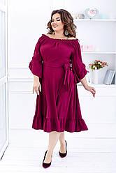 Платье  БАТАЛ рюши в расцветках 461080