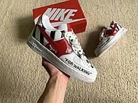 Мужские кожаные кроссовки Nike Air Force 1 Low Supreme x Off-White White/Black/Red белые с черным красным