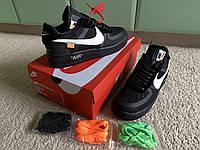 Мужские кожаные кроссовки Nike Air Force 1 Low Black x Off-White черные с белым