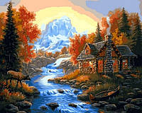 Картина по номерам Домик у горной речки 40 х 50 см (VP1066)