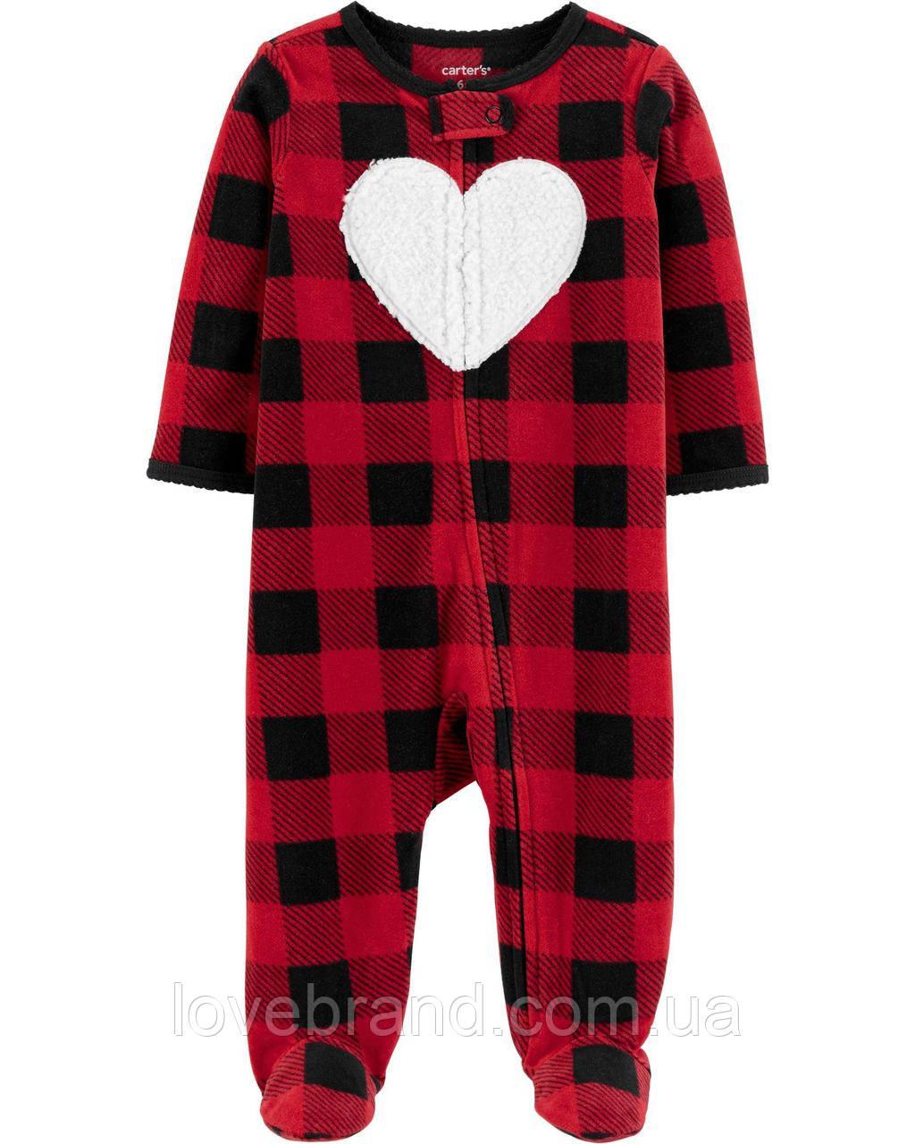 Флисовый человечек с ножками Carter's для девочки Сердце 3 мес/55-61 см