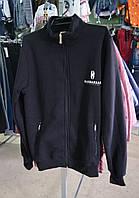 Теплая мужская кофта на байке черная 46-54р