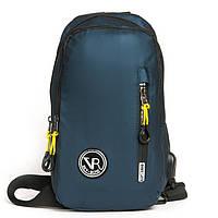 Сумка-рюкзак 1036-1 blue синий текстильный на одно плечо банан слинг