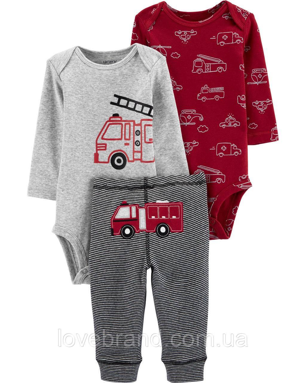 """Набор для мальчика Carter's """"Пожарная машина"""" боди на длинный + штанишки, костюм картерс, веселые попки"""