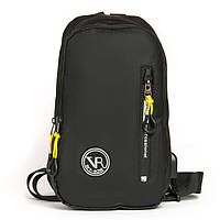 Сумка рюкзак 1036-1 black черный текстильный на одно плечо банан слинг