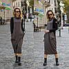 Платье комбинированное миди / двунитка, джерси с начесом / Украина 1-550
