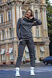 Женский утепленный спортивный костюм с двойным капюшоном / трикотаж джерси с начесом / Украина 1-553, фото 3