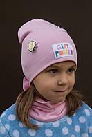 Новинка! Power Girl комплект шапка+хомут р. 48-52 (2-5 лет)Есть клубника, малина, красный, розовый,коралл, фото 1