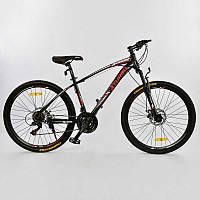 """Велосипед Спортивный CORSO X-Turbo 26""""дюймов BLACK-RED рама металлическая 17``, 21 скорость, собран на 75%"""