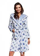 Халат женский теплый с капюшоном Henderson 37522 HURRY, тон голубой