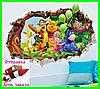 3D интерьерная виниловая наклейка детская обои на стену Винни Пух с шариками, фото 2