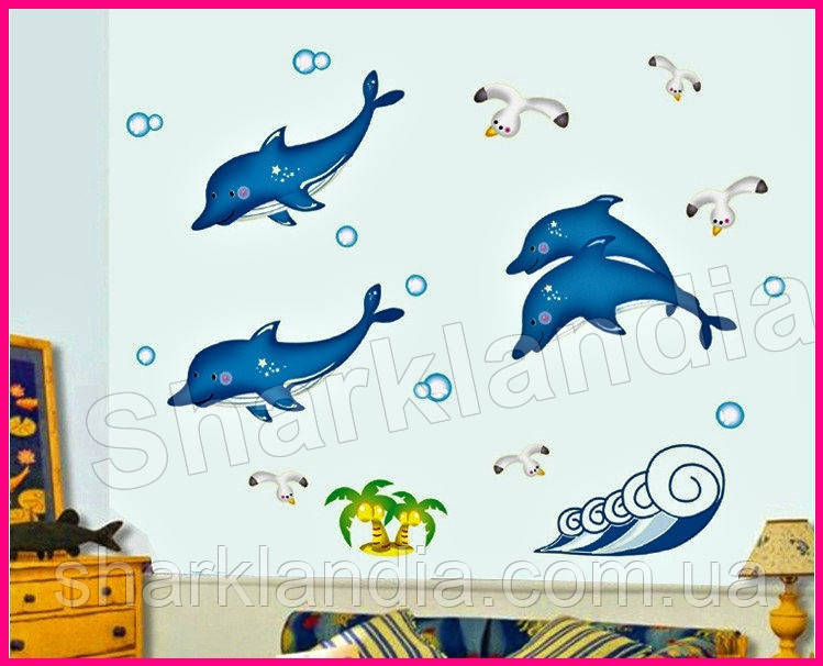Светящиеся 3D наклейки на стену виниловая интерьерная настенная в детскую комнату Дельфины светятся