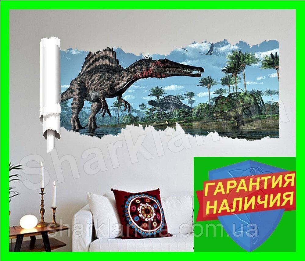 Объемная интерьерная виниловая 3D наклейка детская Динозавры на стену наліпка дитяча Динозаври