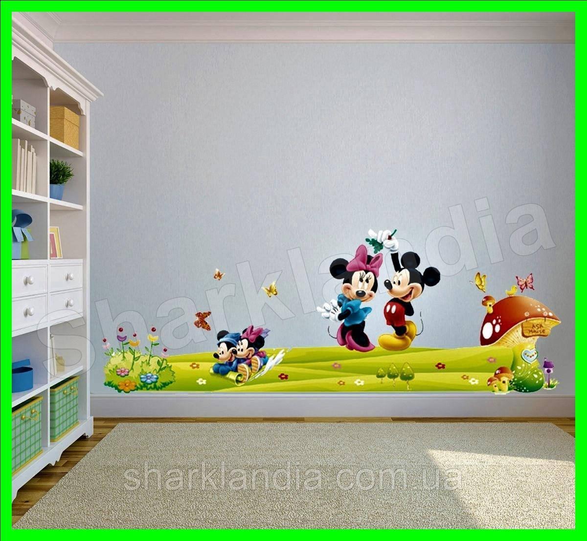 Интерьерная виниловая наклейка в детскую комнату на стену Микки Маус на мостике Минни Маус