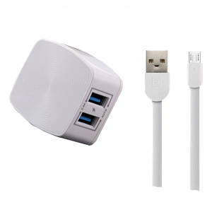 СЗУ REMAX RP-U215 2USB/2,4A/MicroUSB Cable White