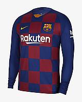 Футбольная форма Барселона (домашняя) с длинный рукавом, сезон 2019-2020. Элитный полиестер