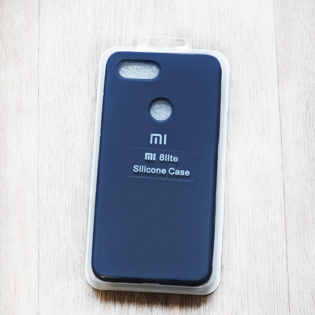 Оригинальный Soft-touch чехол Silicone Case для Xiaomi Mi 8 Lite (темно синий, микрофибра внутри)