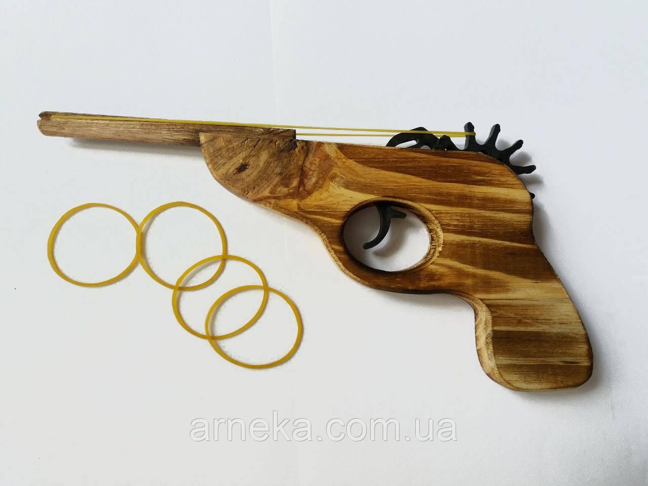 Пистолет деревянный, стреляет резинками