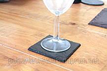 Подставка под бокал или чашку 9,3х9,3 см. сланцевая