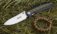 Нож складной, с накладки рукояти из композитного материала G-10, с шероховатыми двухцветными накладками, фото 1