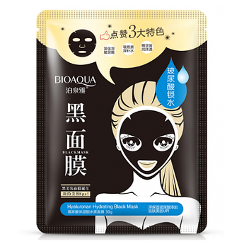 Маска с углём и гиалуроновой кислотой BIOAQUA Hyaluronan Hydrating Black Mask