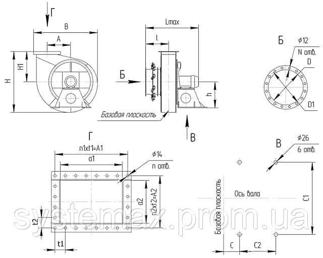 Чертеж габаритных и присоединительных размеров дымососа ДН 11 2 (исполнение №1)