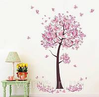 Декоративная наклейка большая Дерево и бабочки