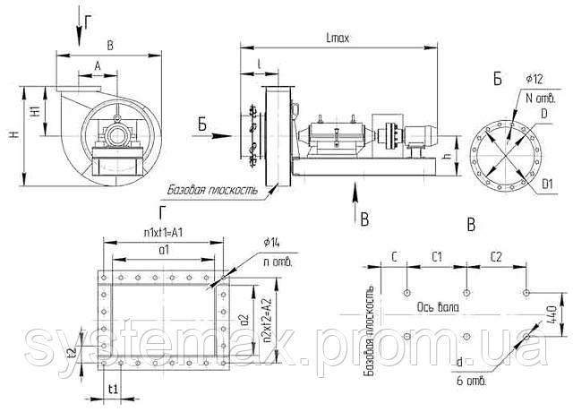 Чертеж габаритных и присоединительных размеров дымососа ДН 11 2 (исполнение №3)