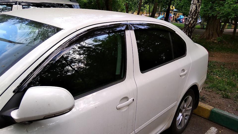 "Дефлекторы окон Ford Fiesta 2015- седан на скотче ""Anv-Air"""