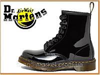 Демисезонные ботинки Dr Martens 1460 Lacquered Black (Доктор Мартинс 1460, черные) без меха, женские + мужские
