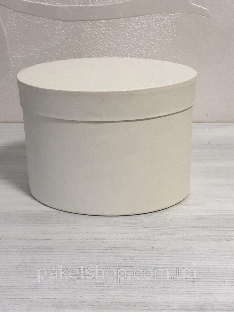 Картонная коробка Овал  под цветы 170*130*130 мм Айвори
