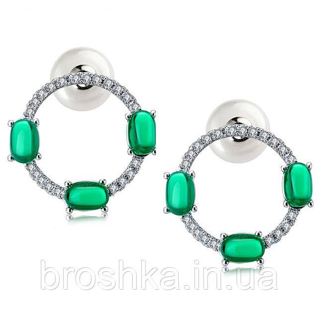 Серьги бижутерия с зелеными камнями