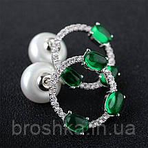 Серьги бижутерия с зелеными камнями, фото 2