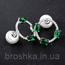 Серьги бижутерия с зелеными камнями, фото 3