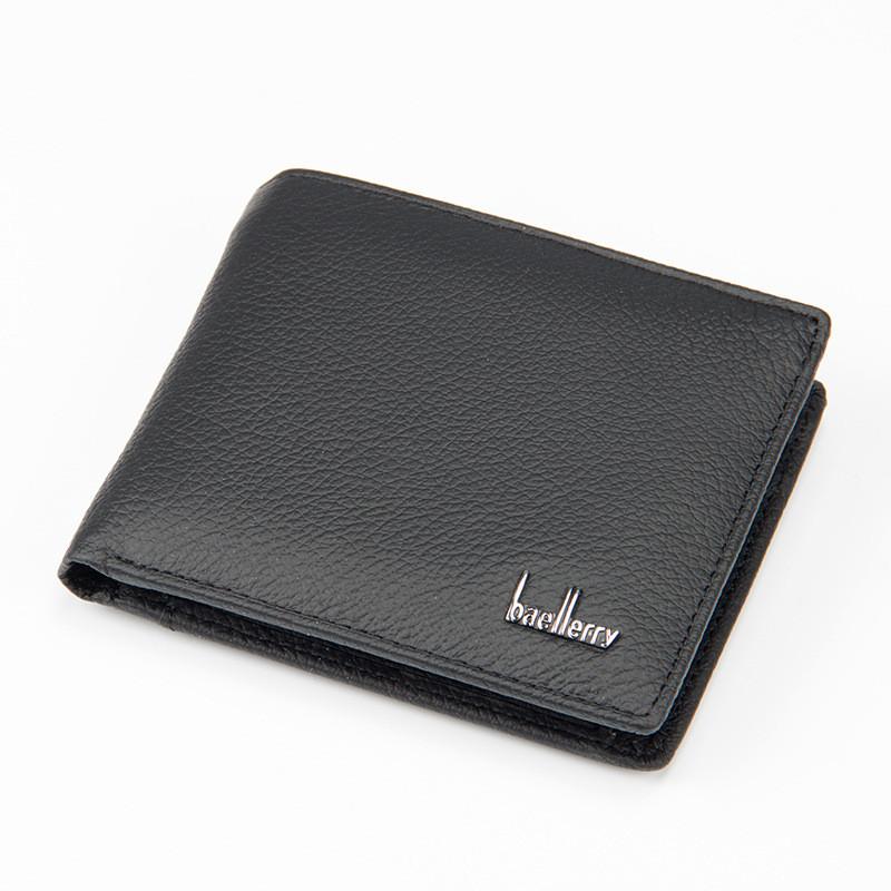 Мужской Кошелек Кожаный Baellerry Simple (G1603) Маленький для Карточек с Монетницей Черный