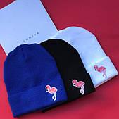 Стильная женская вязаная шапочка фламинго - в расцветки