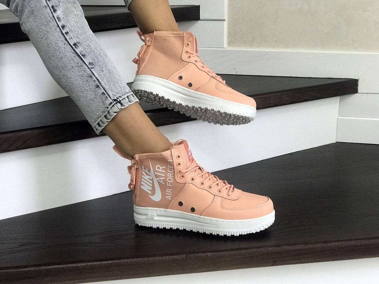 Кроссовки кеды женские кожа нубук найк аир форс пудра повседневные (реплика) Nike Air Force Pink