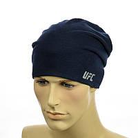 """Трикотажная шапка с патчем """"UFC"""" темно-синий"""
