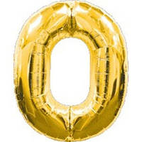 """Фольгированный шар Цифра """"0"""", Золото, высота 90 см"""