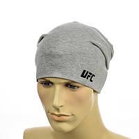 """Трикотажная шапка с патчем """"UFC"""" cветло-серый"""