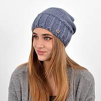 Женская шапка veilo на флисе 3417 св.джинс