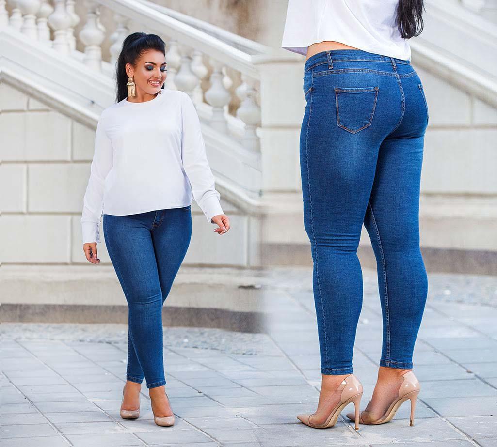 """Стильные женские джинсы стрейч в больших размерах """"001-80-1"""""""