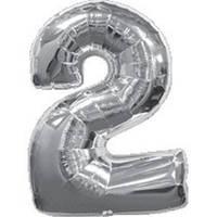 """Фольгированный шар Цифра """"2"""", Серебро, высота 90 см"""