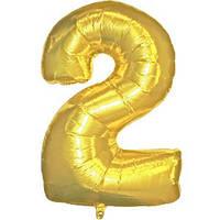 """Фольгированный шар Цифра """"2"""", Золото, высота 90 см"""
