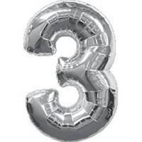 """Фольгированный шар Цифра """"3"""", Серебро, высота 90 см"""