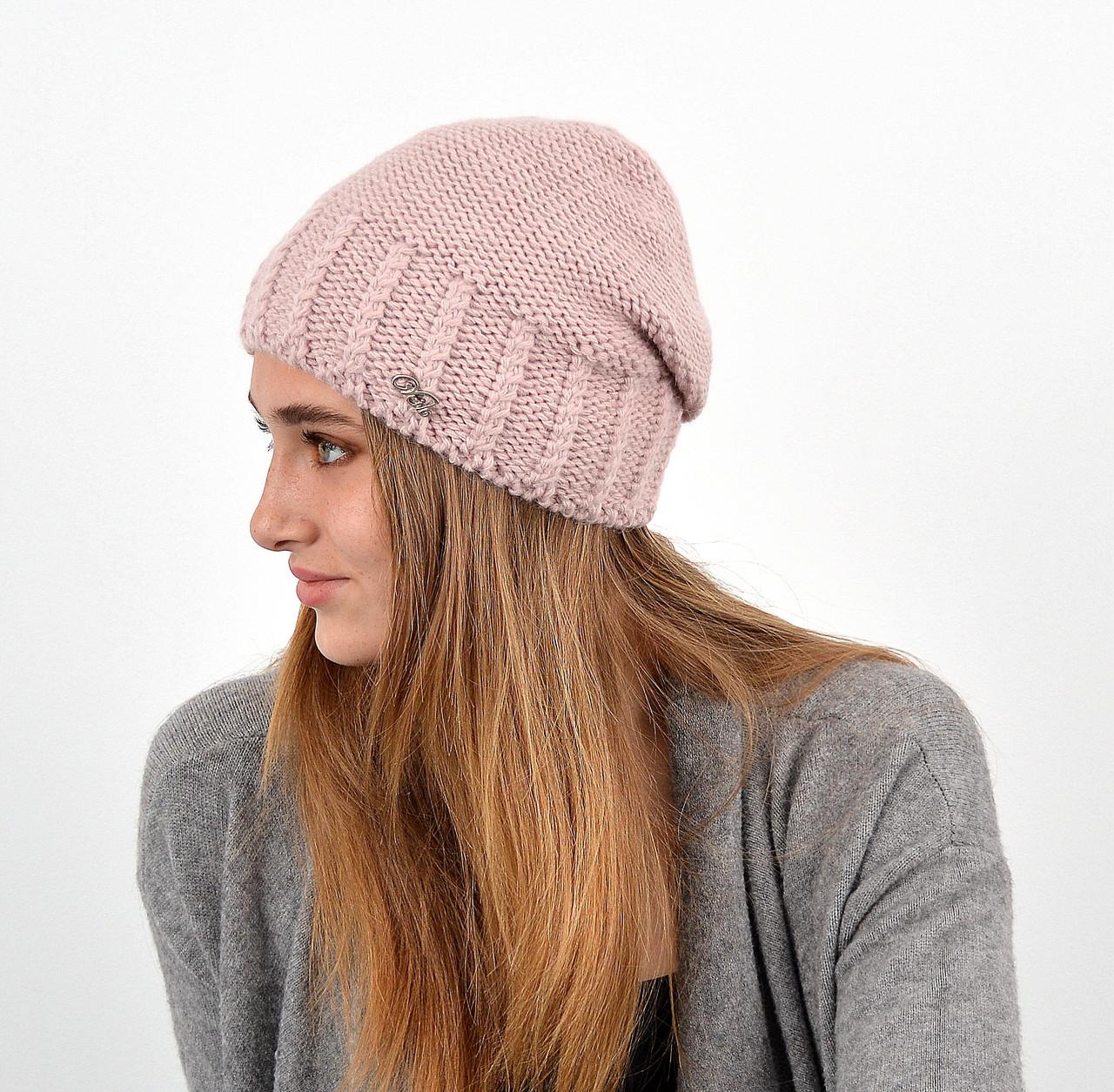 Женская шапка veilo на флисе 3417 пудра