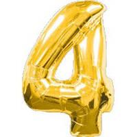 """Фольгированный шар Цифра """"4"""", Золото, высота 90 см"""