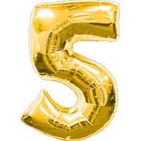 """Фольгированный шар Цифра """"5"""", Золото, высота 90 см"""