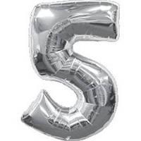 """Фольгированный шар Цифра """"5"""", Серебро, высота 90 см"""